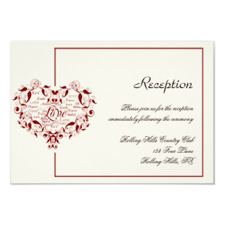 Love in Any Language in Red Wedding Reception Card