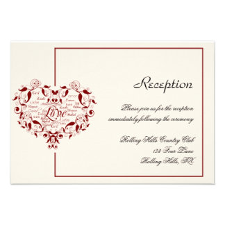 Love in Any Language in Red Wedding Reception Invite