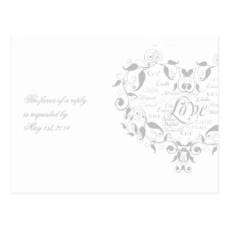 Love in Any Language in Silver RSVP Postcard