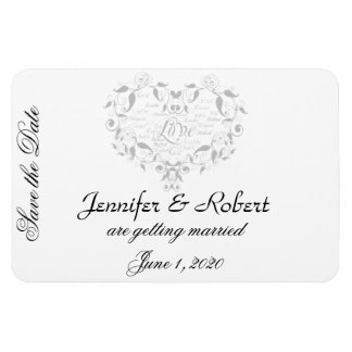 Love in Any Language in Silver Save the Date Magnet