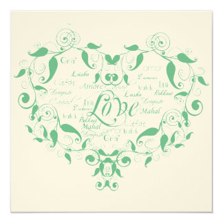 Love in Any Language Mint Green Wedding Invitation