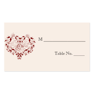 Love in Any Language Red Wedding Place Cards