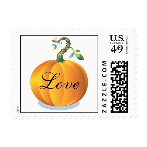 Love In Autumn Pumpkin Wedding Fall Weddings RSVP Postage Stamp