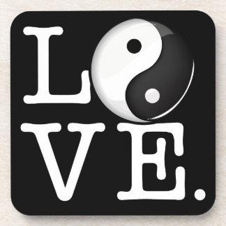 Love in Balance Shiny Yin Yang Symbol Drink Coaster