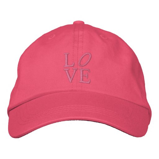 LOVE in Big Pink Letters Embroidered Baseball Cap