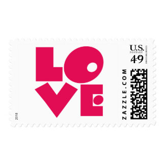 LOVE in Big Pink Letters Postage