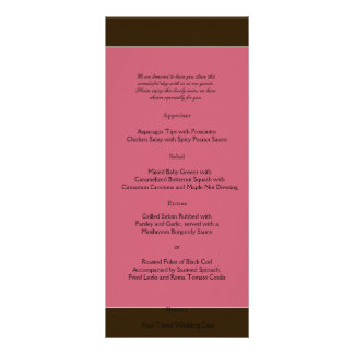 Love in Bloom: Chocolate Brown Wedding Menu Full Color Rack Card