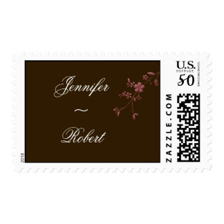 Love in Bloom: Chocolate Brown with Cherry Blossom Postage