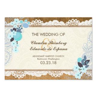 Love in Bloom – Lace & Burlap 5x7 Paper Invitation Card