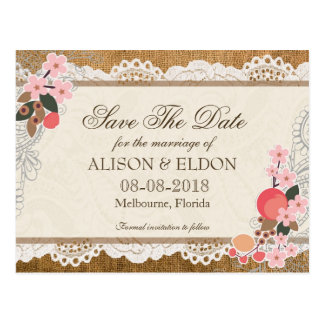 Love in Bloom – Lace & Burlap Postcard