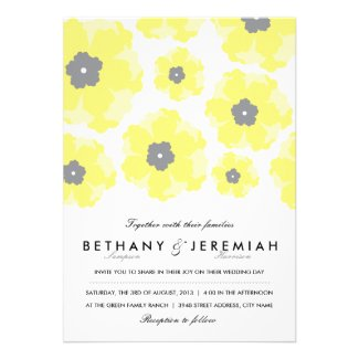 Love In Bloom yellow flowers with gray centers themed wedding collection