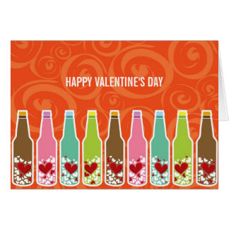 Love In Bottles Whimsical Valentine's Day Card