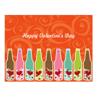 Love In Bottles Whimsical Valentine's Day Postcard