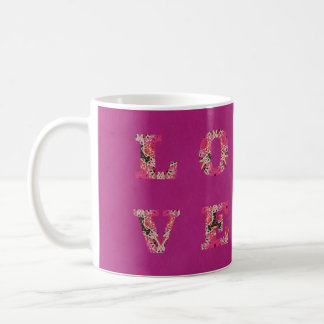 Love in Bright Pink Texture Mug by KCS