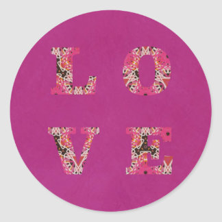 Love in Bright Pink Texture Stickers Set by KCS
