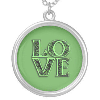 LOVE in Celtic Lettering on a Necklace