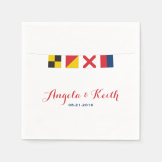 LOVE in Colorful Nautical Flags Napkin