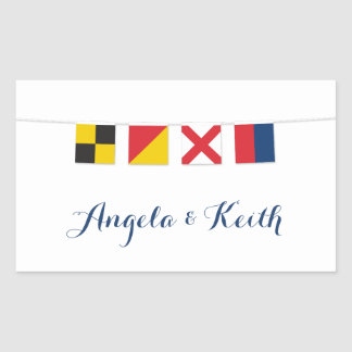 LOVE in Colorful Nautical Flags Rectangular Sticker