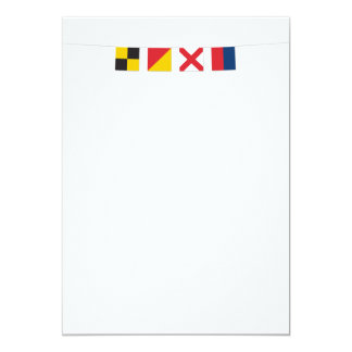 LOVE in Colorful Nautical Signal Flags 5x7 Paper Invitation Card