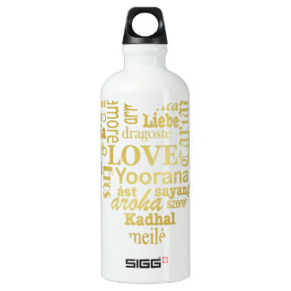 Love in Different Languages in a Heart Shape -Gold Aluminum Water Bottle