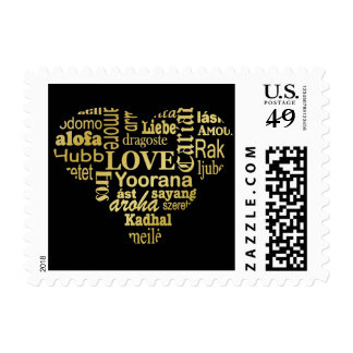Love in Different Languages in a Heart Shape -Gold Postage Stamp