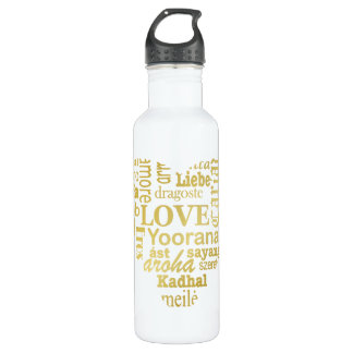 Love in Different Languages in a Heart Shape -Gold Stainless Steel Water Bottle