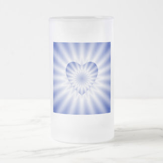 LOVE IN DISGUISE - Blue and White Heart and Rays Frosted Glass Beer Mug