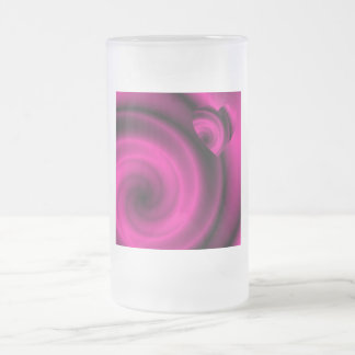 LOVE IN DISGUISE - Fuchsia Pink Swirls Frosted Glass Beer Mug