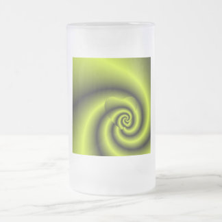 LOVE IN DISGUISE - Green and Yellow Swirls Frosted Glass Beer Mug