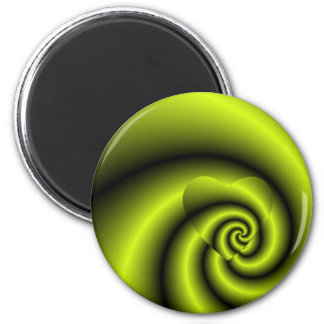 LOVE IN DISGUISE - Green and Yellow Swirls Magnet