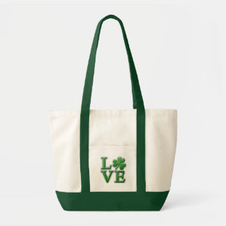 LOVE in Distressed Green Font w/Shamrock Tote Bag