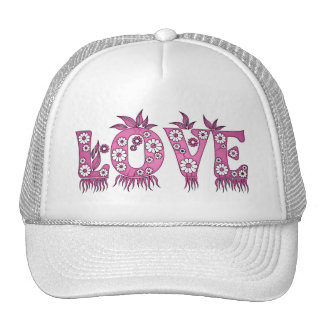 Love ( in flowers font ) trucker hat
