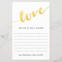 Love in Gold Script, Bridal Shower Advice Card