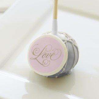 Love in Gold Script   Pink Custom Color Cake Pops