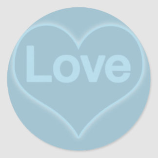 Love in Heart on Blue Classic Round Sticker