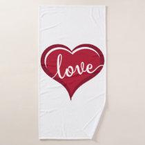 love in heart valentines bath towel