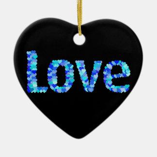 Love In Hearts Bold Bright & Vivid | Blue Ceramic Ornament