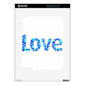 Love In Hearts Bold Bright & Vivid   Blue Skin For The iPad 2