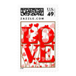 LOVE in Hearts Postage