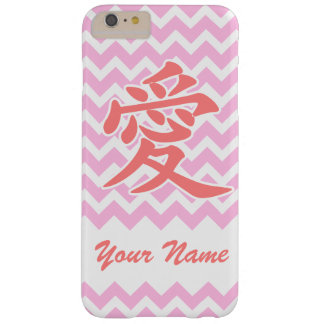 Love in Japanese with Pink Chevron Pattern Barely There iPhone 6 Plus Case