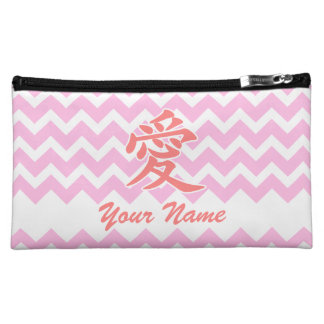 Love in Japanese with Pink Chevron Pattern Cosmetic Bag