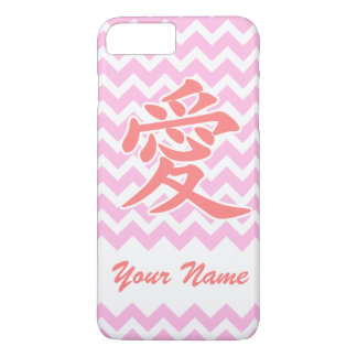 Love in Japanese with Pink Chevron Pattern iPhone 7 Plus Case