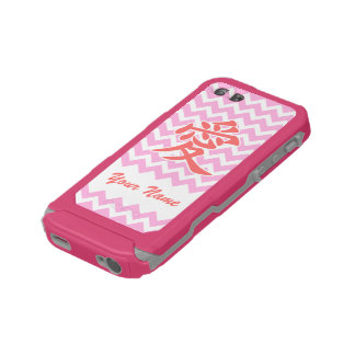 Love in Japanese with Pink Chevron Pattern Incipio ATLAS ID™ iPhone 5 Case
