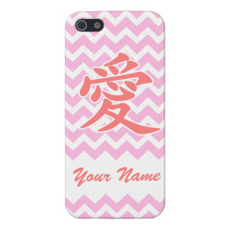 Love in Japanese with Pink Chevron Pattern iPhone 5 Cases