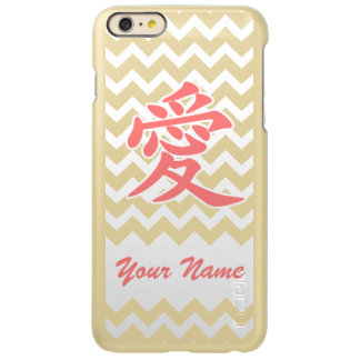 Love in Japanese with Pink Chevron Pattern Incipio Feather® Shine iPhone 6 Plus Case