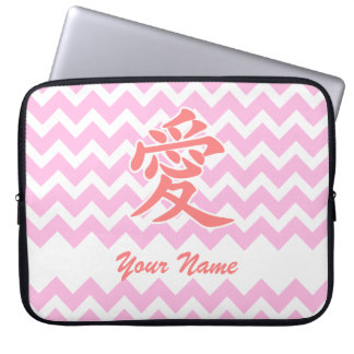 Love in Japanese with Pink Chevron Pattern Computer Sleeves