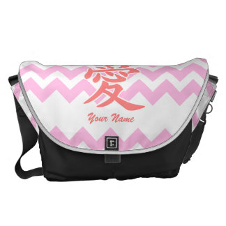 Love in Japanese with Pink Chevron Pattern Messenger Bag