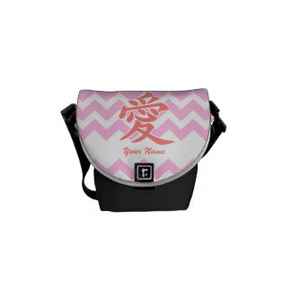 Love in Japanese with Pink Chevron Pattern Courier Bags