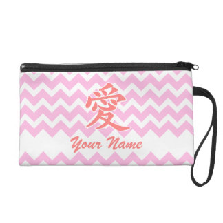 Love in Japanese with Pink Chevron Pattern Wristlet