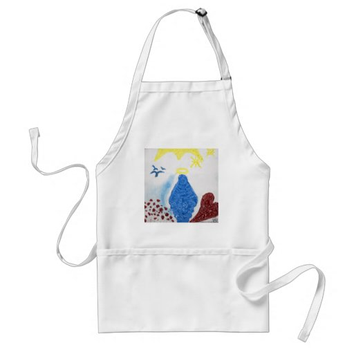 Love in Light: Virgin Mary Blessed Mother in Oil Adult Apron